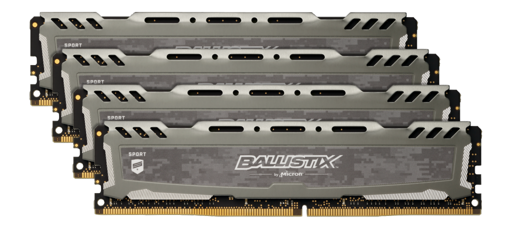 Ballistix Sport LT Gray 64GB Kit (4 x 16GB) DDR4-2400 UDIMM- view 1