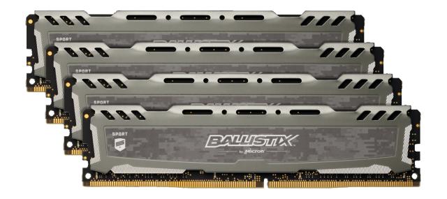 Ballistix Sport LT Gray 64GB Kit (4 x 16GB) DDR4-2400 UDIMM