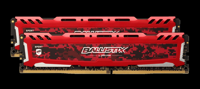 Memory & CPUs Ballistix Sport LT Red 32GB Kit (2 x 16GB) DDR4-3200 UDIMM