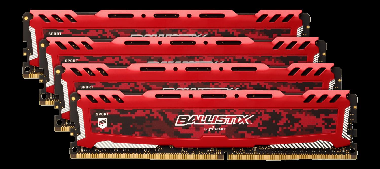 Memory & CPUs Ballistix Sport LT Red 64GB Kit (4 x 16GB) DDR4-3200 UDIMM