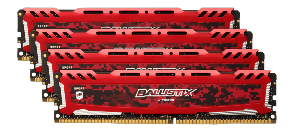 Ballistix Sport LT Red 64GB Kit (4 x 16GB) DDR4-3000 UDIMM- view 1