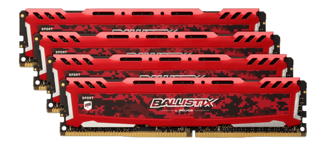 Ballistix Sport LT Red 16GB Kit (4 x 4GB) DDR4-2400 UDIMM