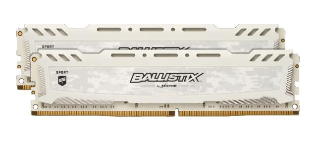 Ballistix Sport LT White 8GB Kit (2 x 4GB) DDR4-2400 UDIMM