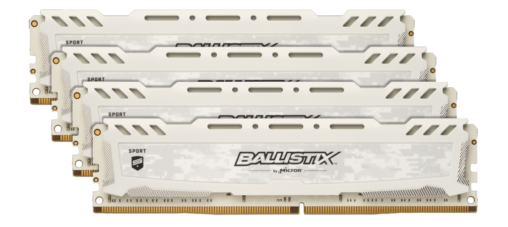 Image for Ballistix Sport LT White 64GB Kit (4 x 16GB) DDR4-3200 UDIMM from Crucial India