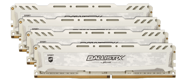 Ballistix Sport LT White 16GB Kit (4 x 4GB) DDR4-2400 UDIMM