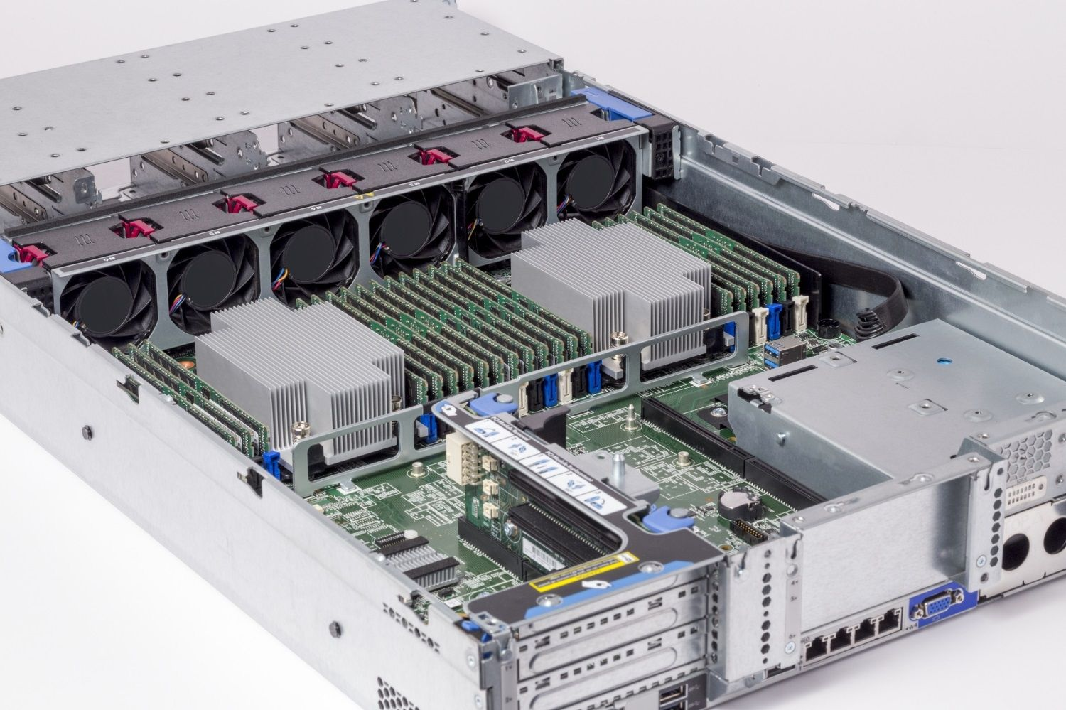 Crucial RAM memory modules installed in a server