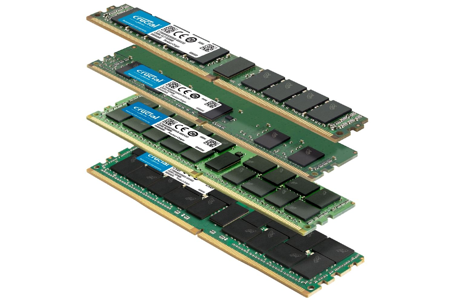 A stack of various Crucial RAM memory modules with different form factors