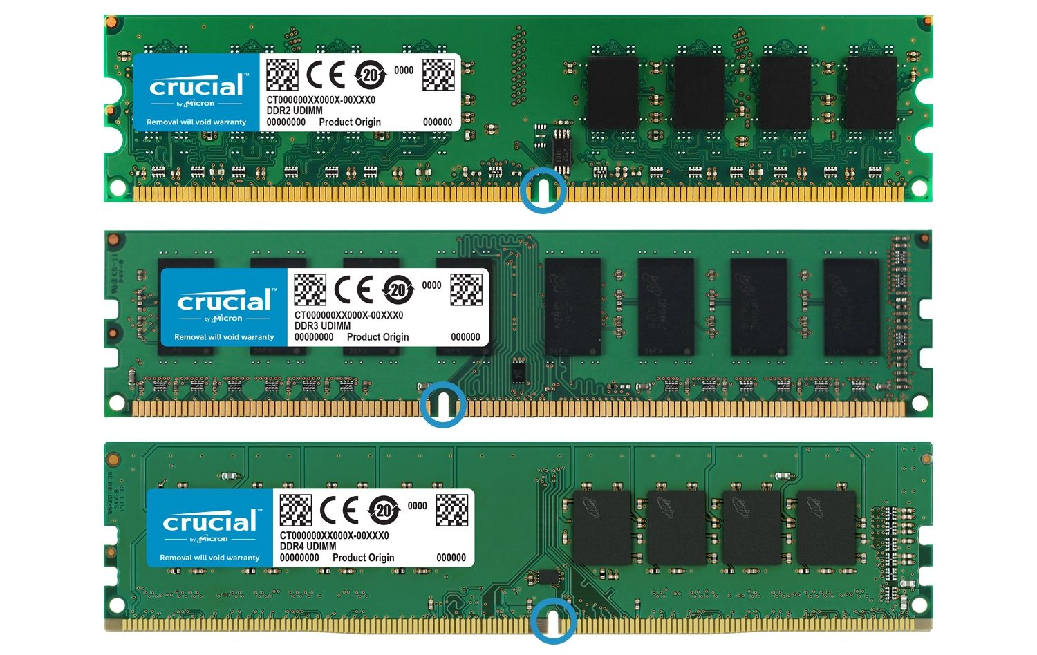 Three generations of Crucial RAM memory modules are placed next to each other to highlight the changes in the physical shape of the memory in each generation