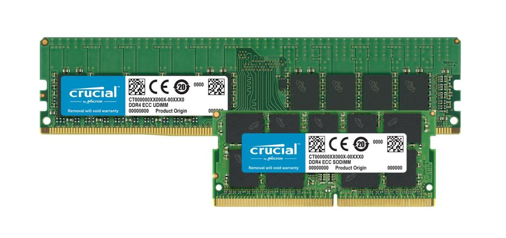 Crucial DDR4 ECC memory modules.