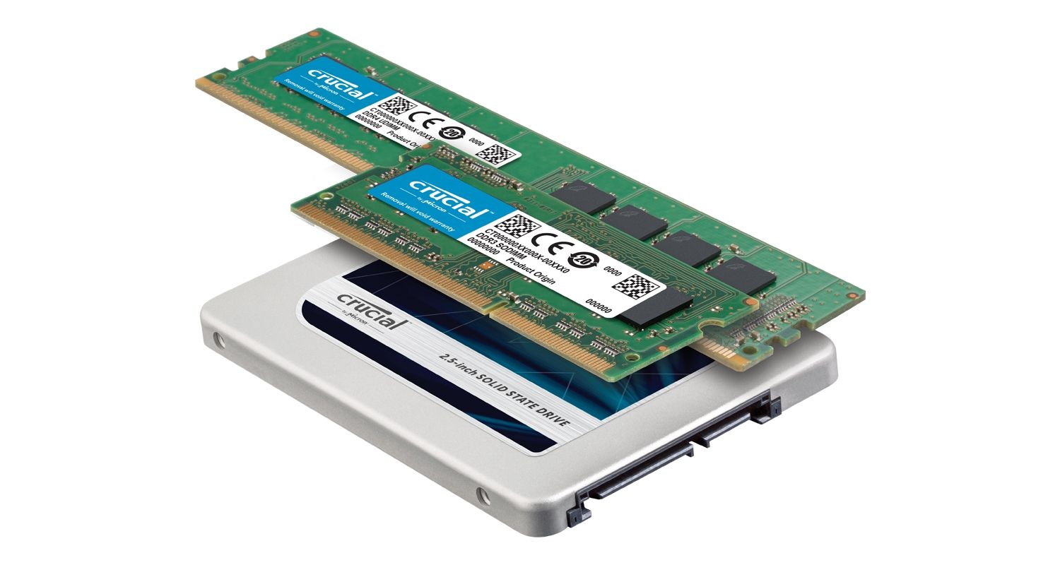 A Crucial SSD and RAM memory modules