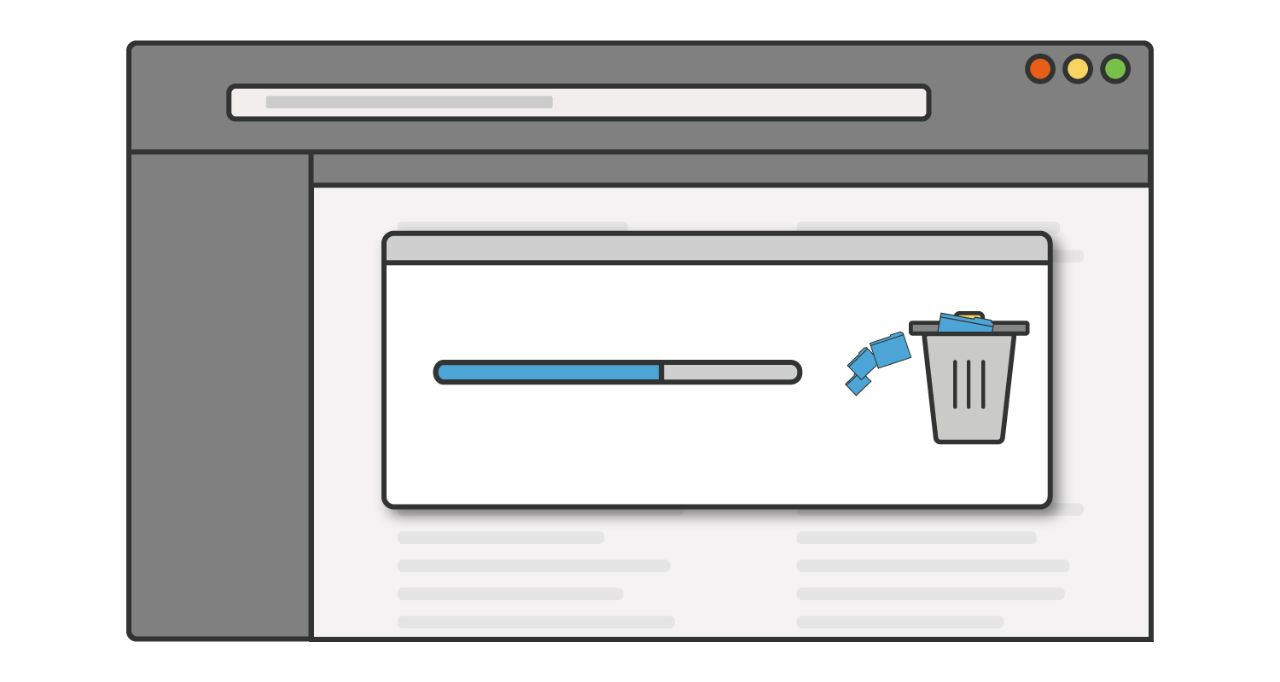 Illustration of a progress bar as unused programmes or applications are deleted from a computer