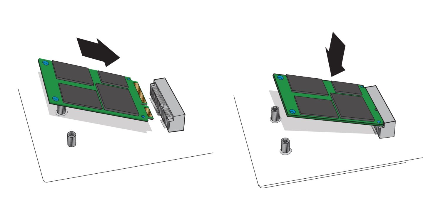 An illustration to demonstrate how an mSATA SSD drive is inserted in to a desktop computer's mSATA socket on a motherboard