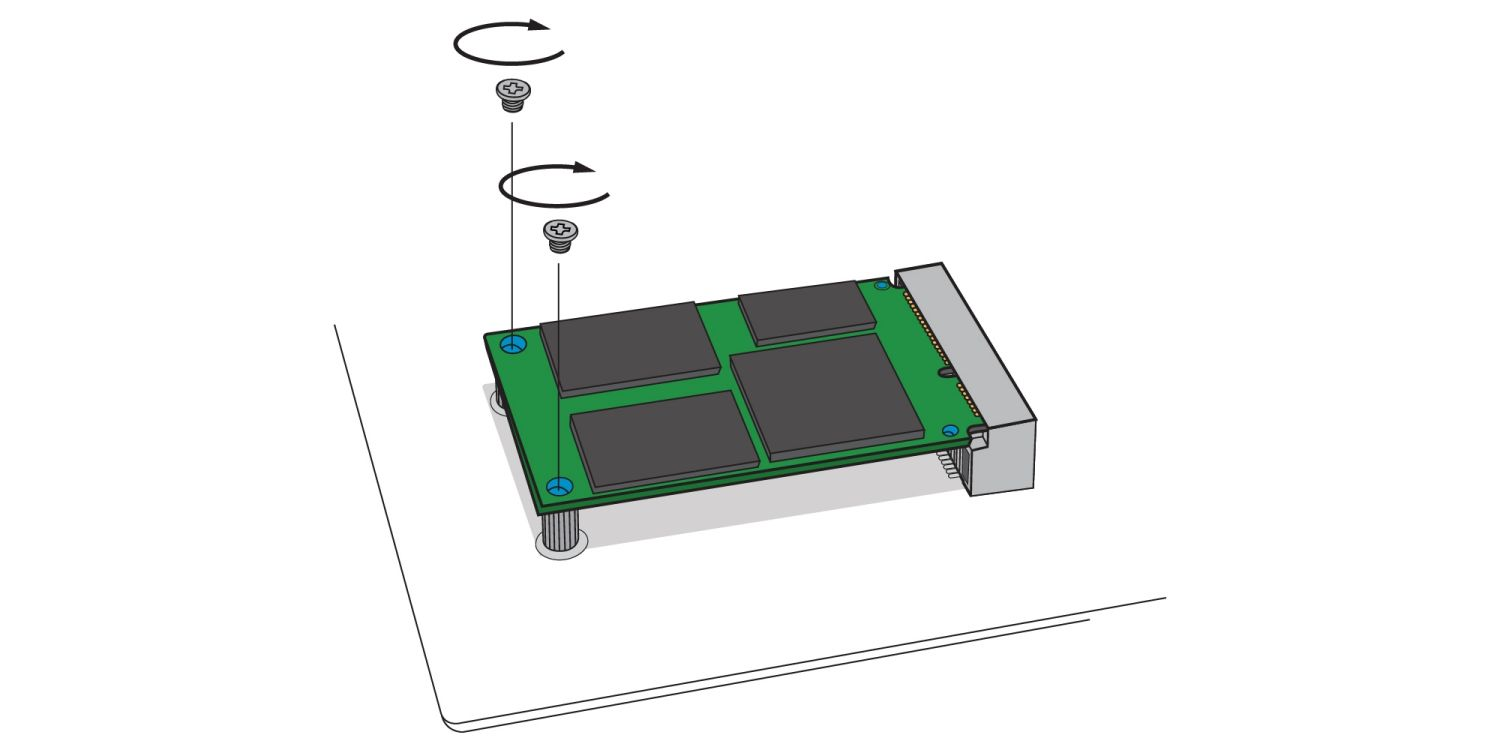 An illustration demonstrates how to screw a new mSATA SSD drive in to a desktop computer's mSATA socket on the motherboard