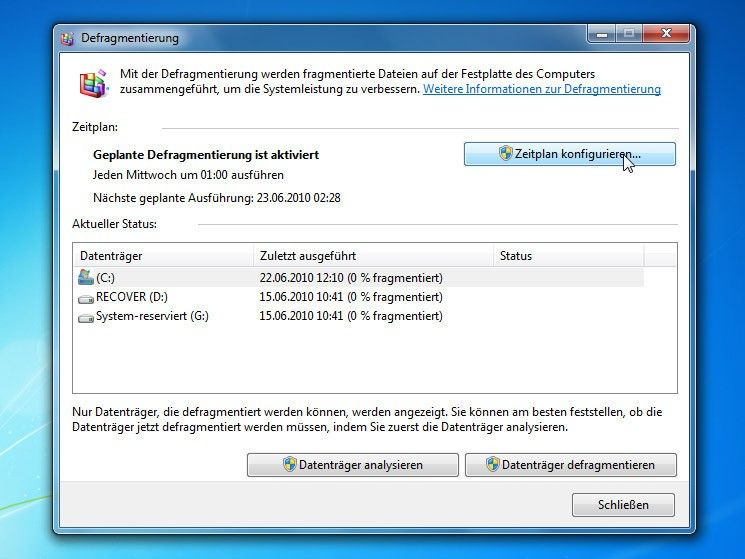 Das Popup-Fenster Windows 7 Datenträgerbereinigung zeigt den aktuellen Analysestatus eines Festplattenanalyseberichts an