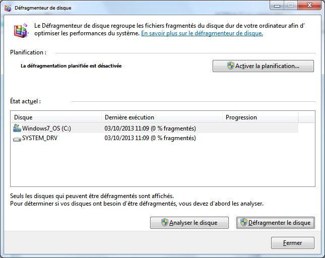 La fenêtre contextuelle du Défragmenteur de disque sous Windows7 vous indique le statut du rapport de l'analyse du disque