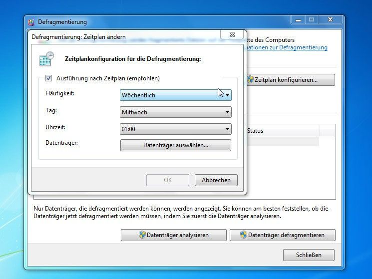 "Windows 7 Datenträgerbereinigung: Popup-Fenster ""Zeitplan ändern"""