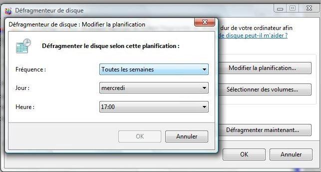 Défragmenteur de disque Windows7: Fenêtre contextuelle Modifier la planification