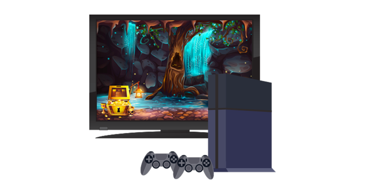 Gaming console and tv monitor
