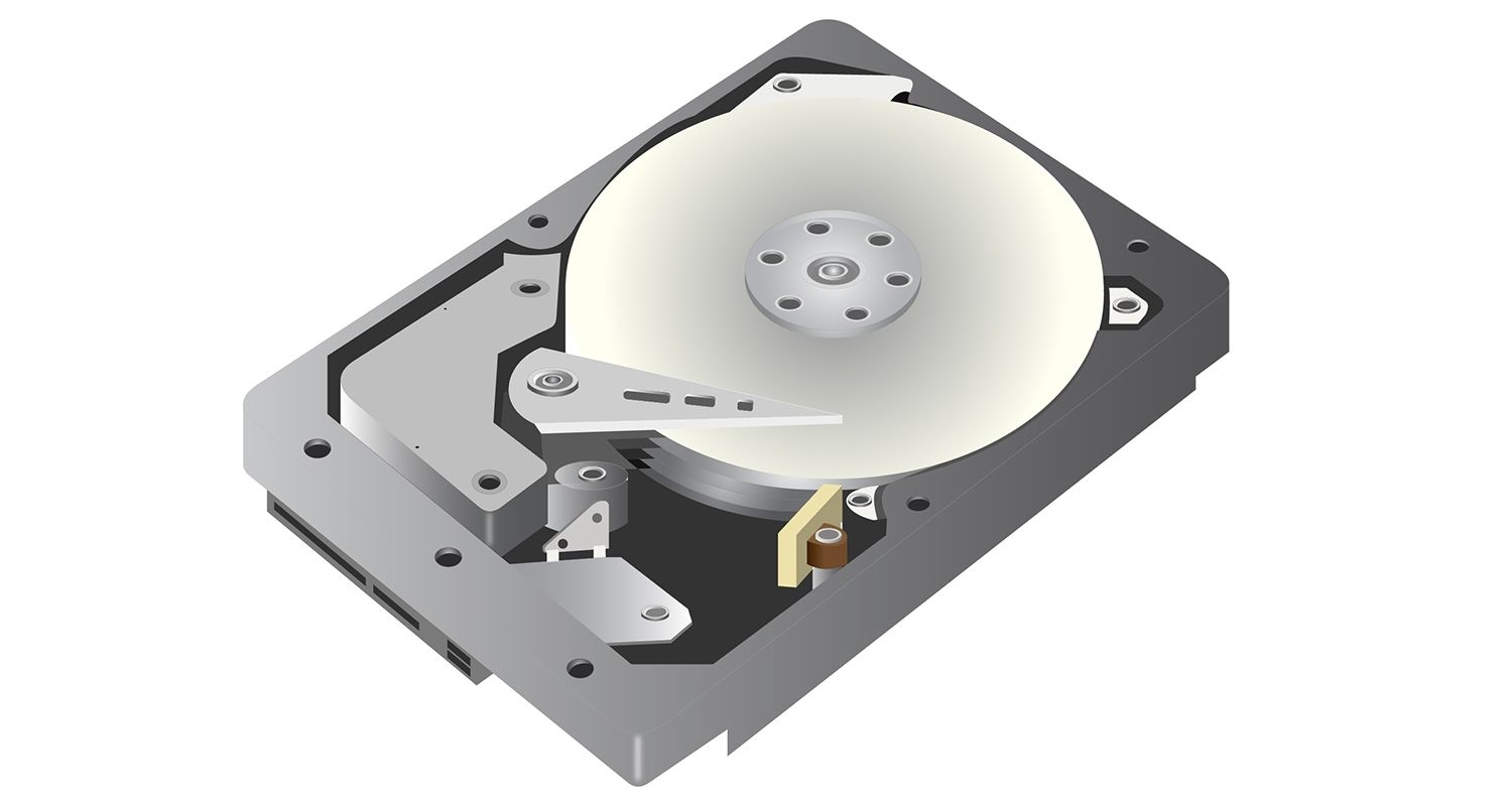 A vector graphic depiction of a hard disk drive (hdd) on a white background