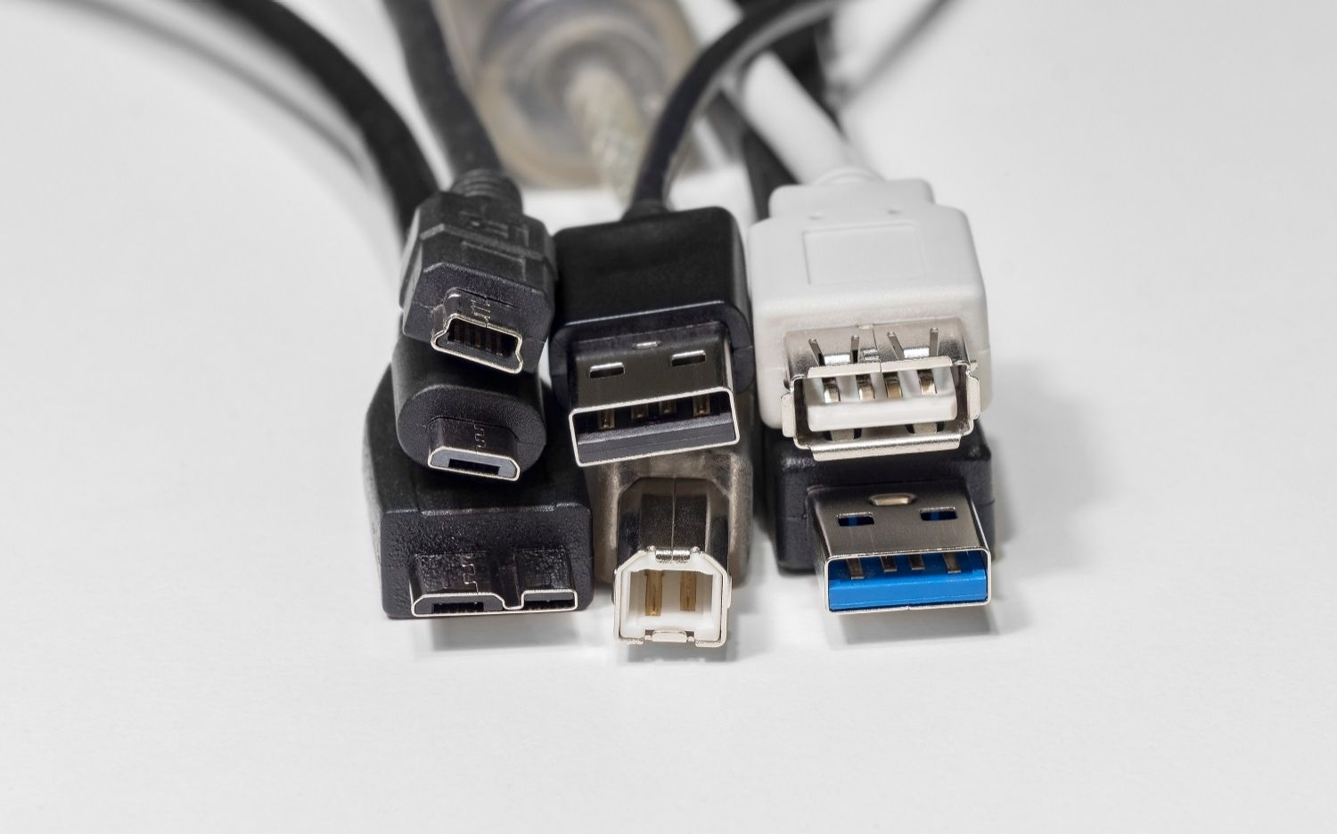 A variety of cable connectors with different form factors