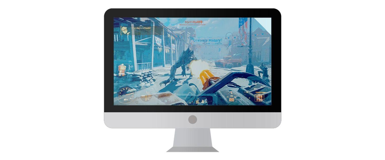 Computer monitor Mac con un videogioco mostrato su schermo.