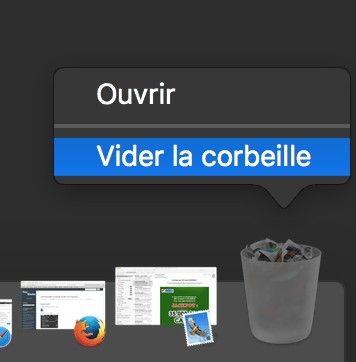 Fenêtre contextuelle Vider la corbeille sur un ordinateur Apple Mac