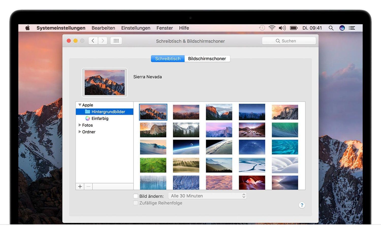 Screenshot des Popup-Fensters Schreibtisch und Bildschirmschoner auf einem Mac