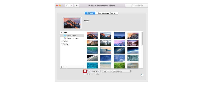 Capture d'écran d'une fenêtre contextuelle Bureau et Économiseur d'écran sur un Mac