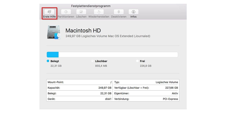 Screenshot des Popup-Fensters des Festplattendienstprogramms auf einem Mac