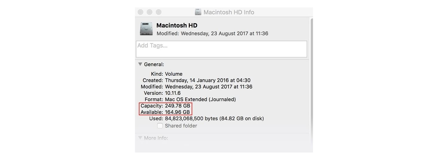 Macintosh HD information window