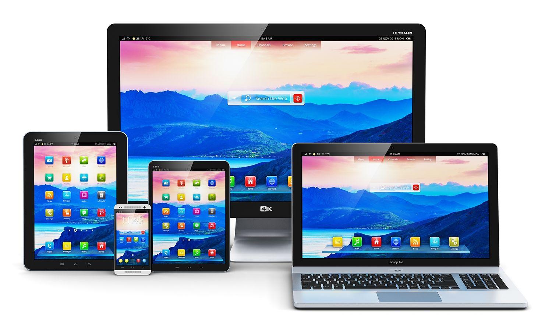 Desktop-Computer, Laptop, Tablet und Telefon