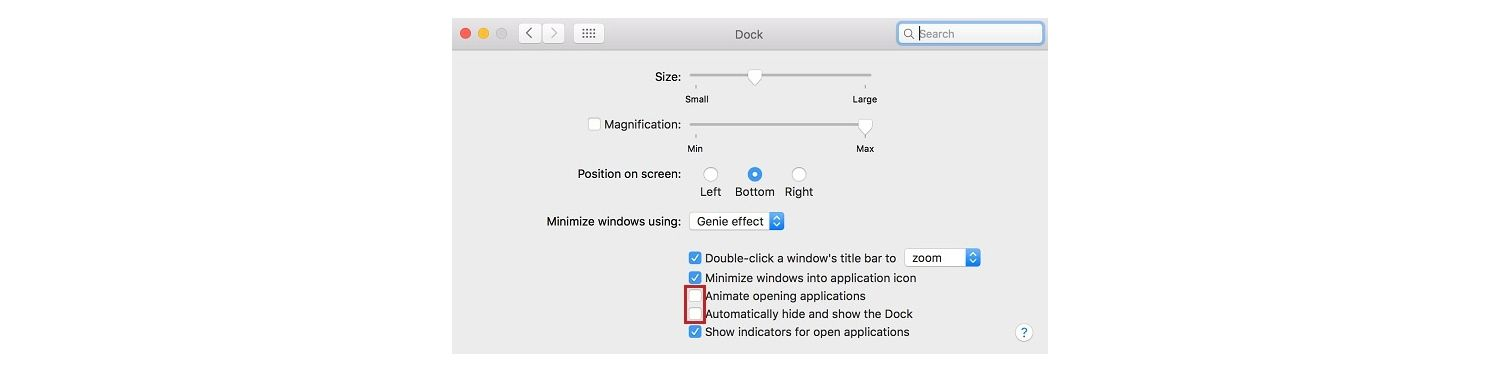 Screenshot of the Dock pop-up window on a Mac which helps you to manage your apps