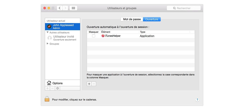 Page de connexion d'un Mac.