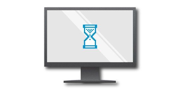 Graphic of a computer screen displaying a blue egg timer