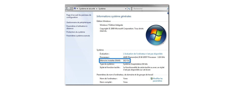 Fenêtre contextuelle Système Windows 7