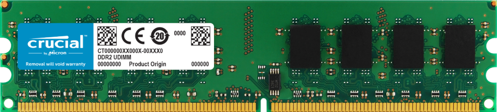 Crucial 2GB DDR2-800 UDIMM- view 1