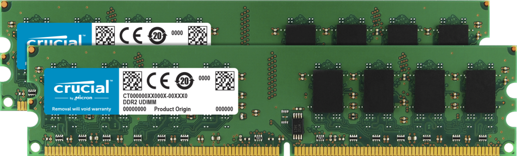 Crucial 2GB Kit (2 x 1GB) DDR2-800 UDIMM- view 1