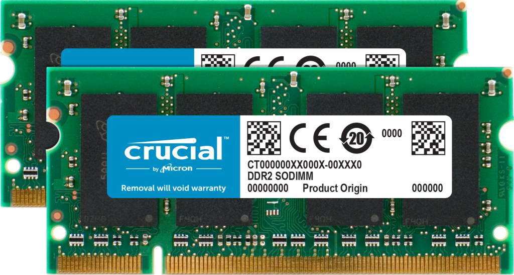Crucial 2GB Kit (2 x 1GB) DDR2-800 SODIMM- view 1