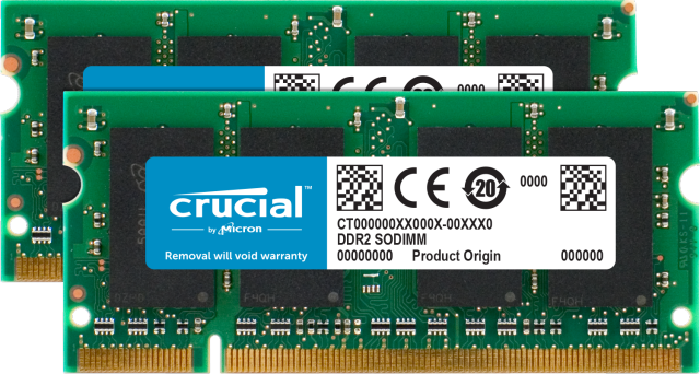 Crucial 2GB Kit (2 x 1GB) DDR2-800 SODIMM