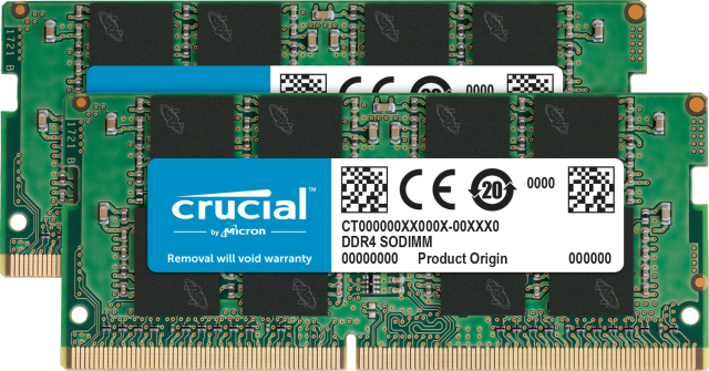 Crucial 32GB Kit (2 x 16GB) DDR4-2666 SODIMM