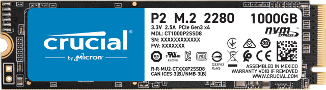 Crucial P2 1000GB PCIe M.2 2280SS SSD