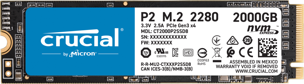 Crucial P2 2To PCIe M.2 2280SS SSD- view 1