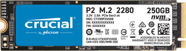 Crucial P2 250GB PCIe M.2 2280SS SSD