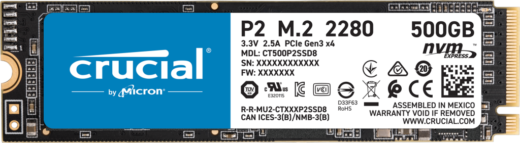 Crucial P2 500GB PCIe M.2 2280SS SSD- view 1