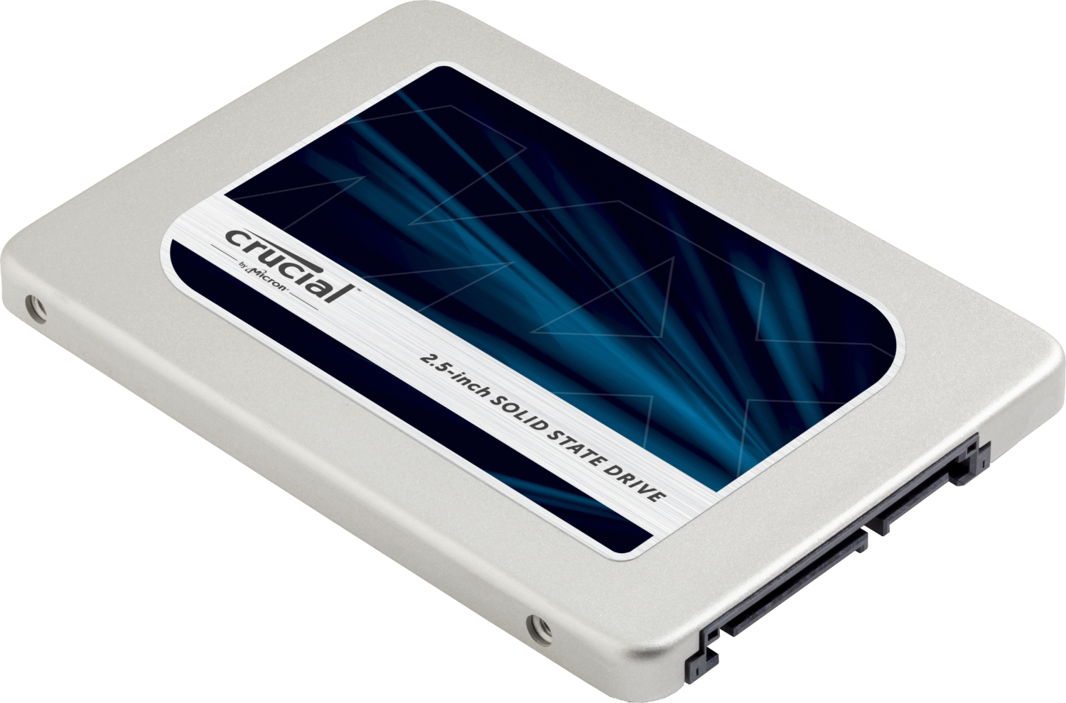 Crucial solid-state drive (SSD) for a computer isolated on a white background