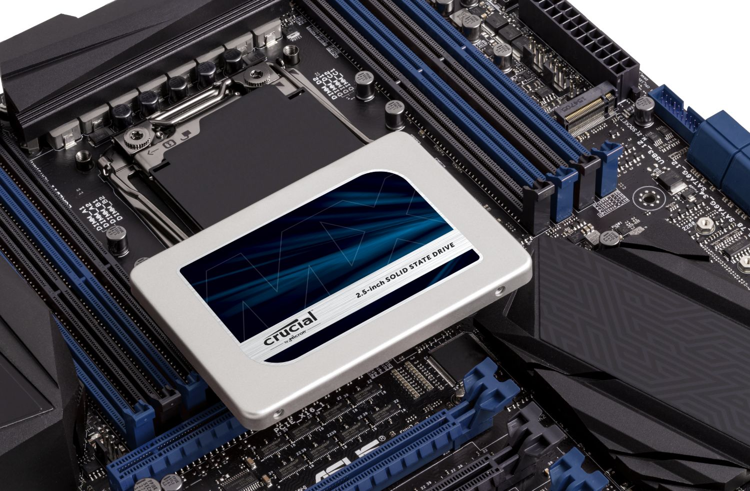 Crucial solid state drive and motherboard