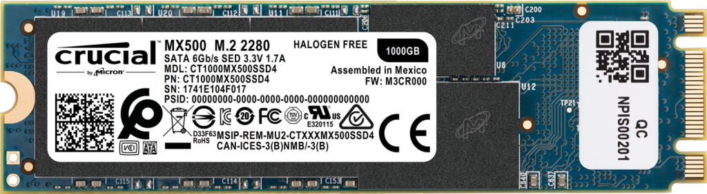SSD Crucial MX500 1 To 3D NAND (M.2 - type 2280)- view 1