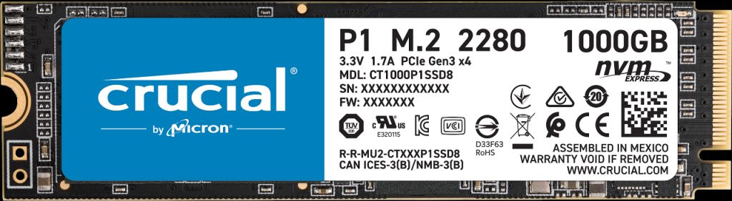 Image for Crucial P1 1TB 3D NAND NVMe PCIe M.2 SSD from Crucial India