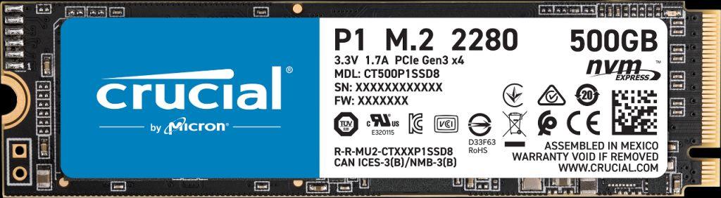 Crucial P1 500GB 3D NAND NVMe PCIe M 2 SSD