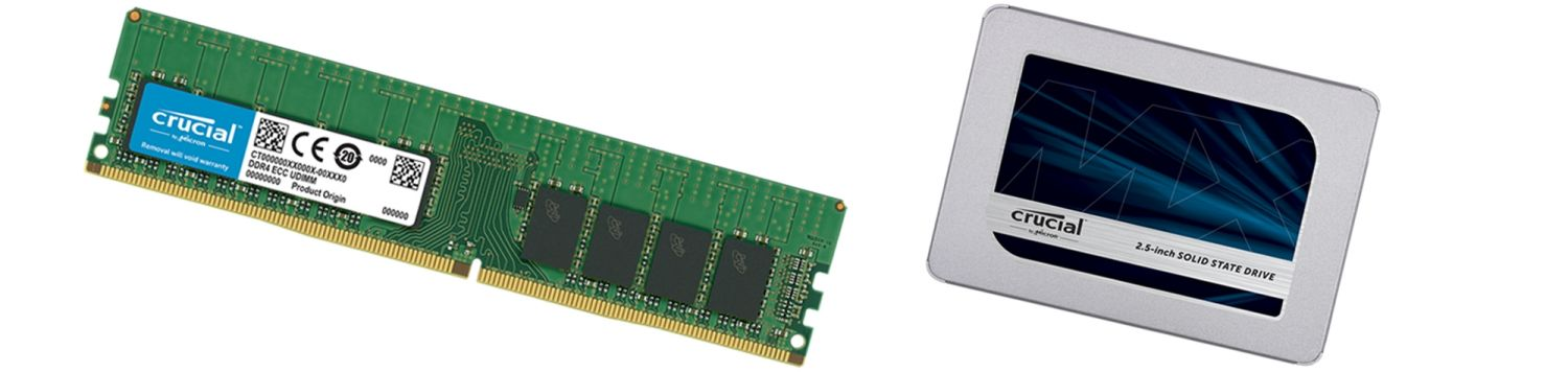 Crucial memory and solid state drive.